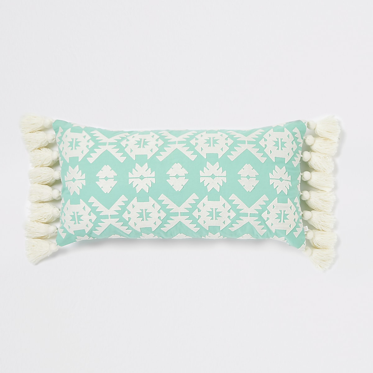 Mint green geo embroidered oversized cushion