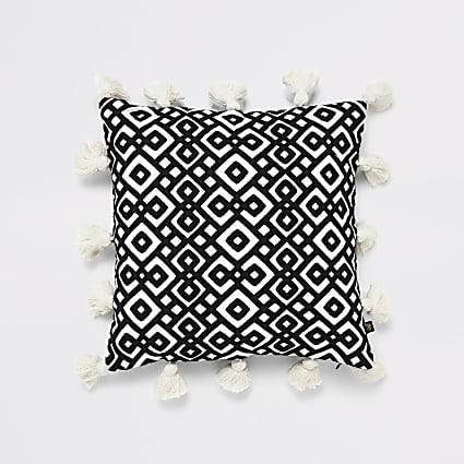 Black diamond embroidery tassel cushion