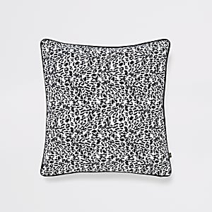 Black leopard print cushion