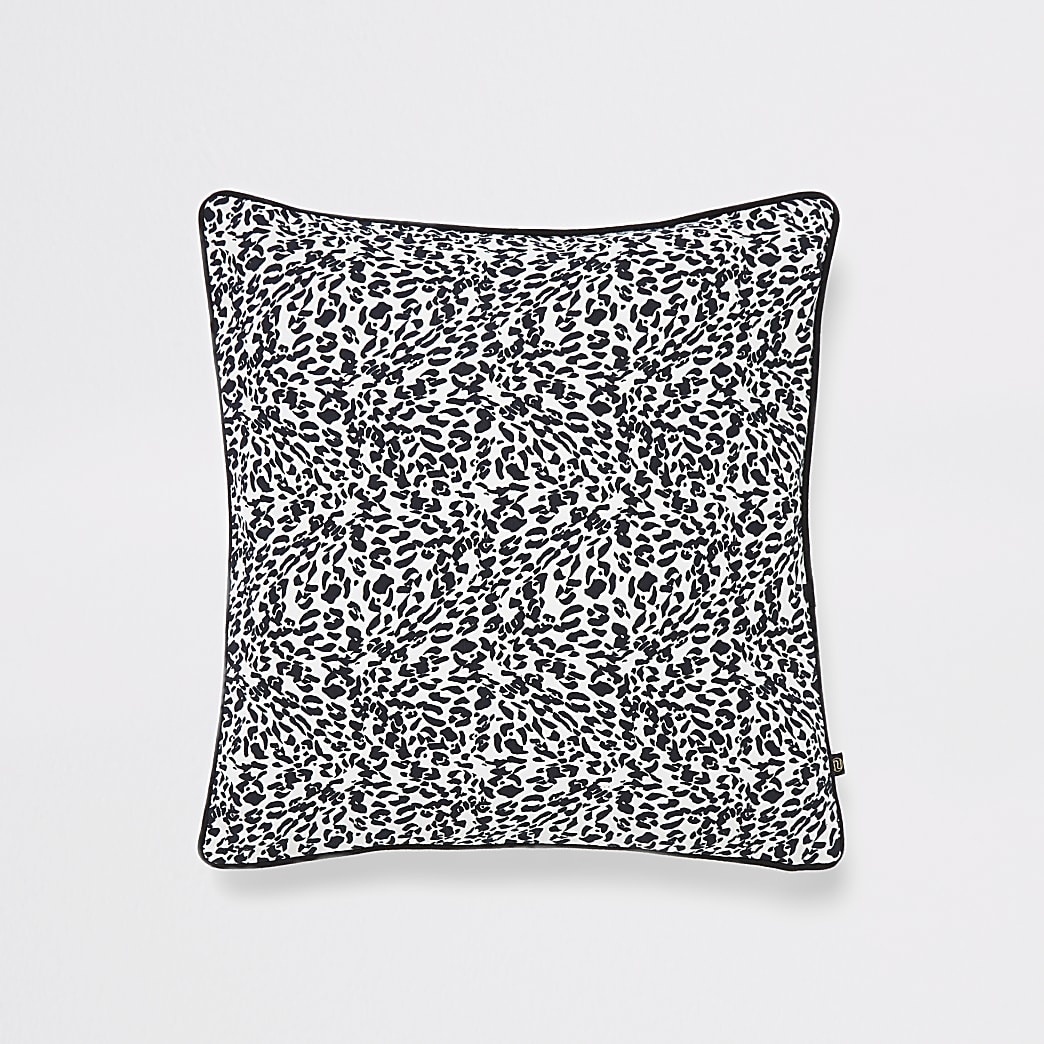 Black leopard print cushion