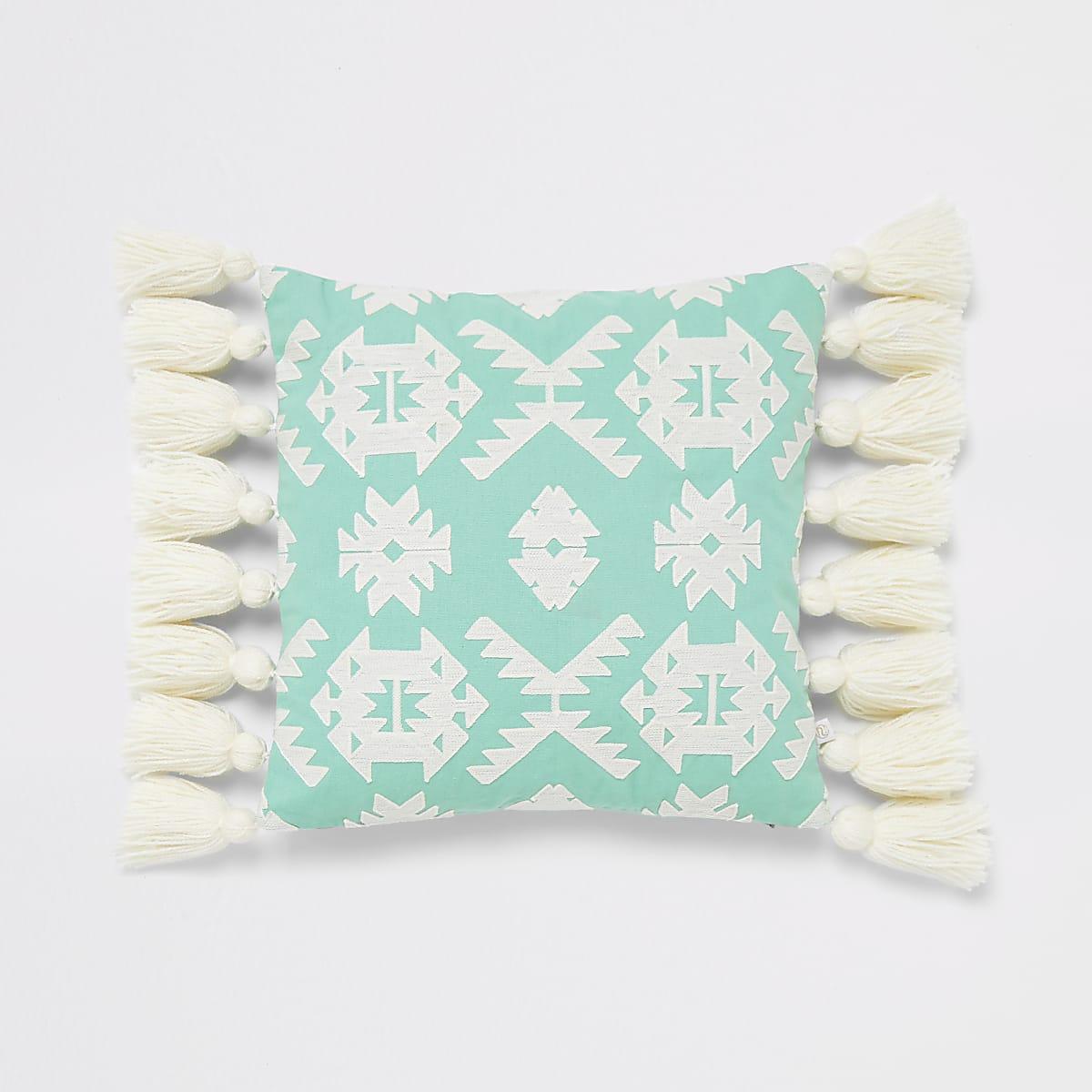 Green geo embroidery tassel cushion