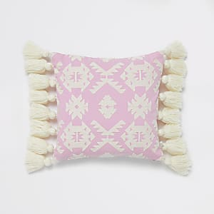 Pink geo embroidery tassel cushion