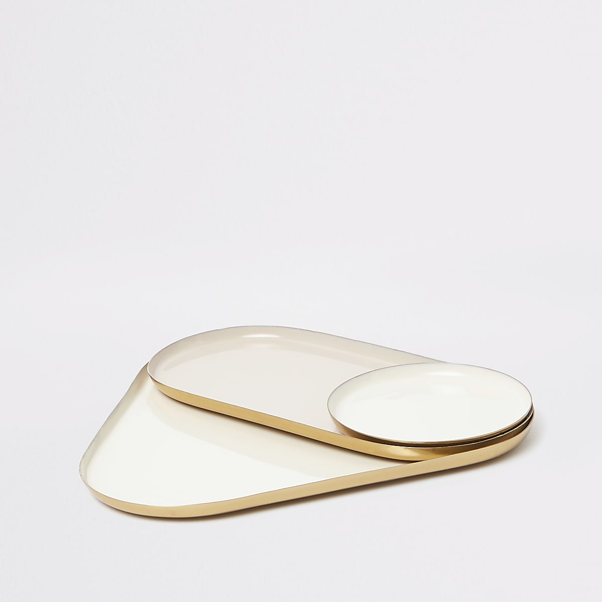 Set of 3 cream high shine classic tray