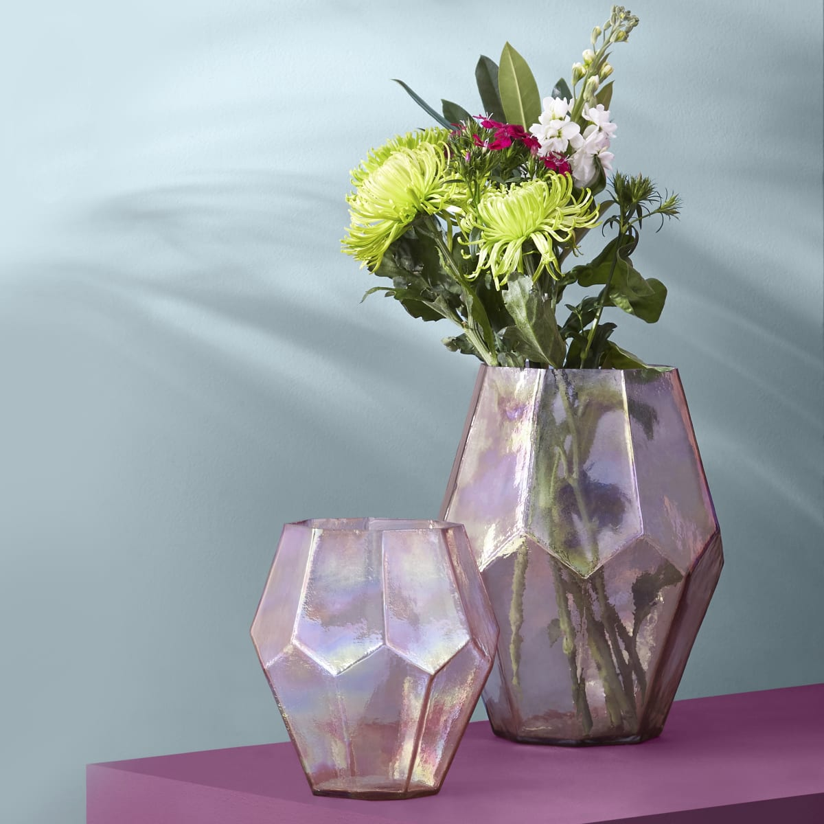 Large pink octagon glass vase