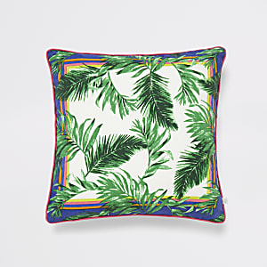 Green jungle print cushion
