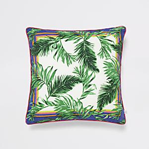 Coussin imprimé jungle vert