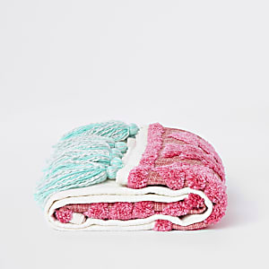 Pink turquoise and cream tassel throw