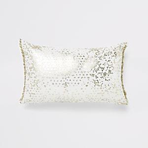 Rechteckiges, weißes Kissen mit Paillettenverzierung