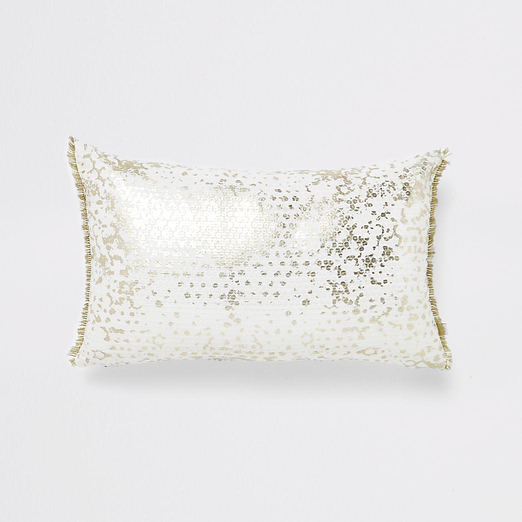 White and gold sequin rectangle cushion