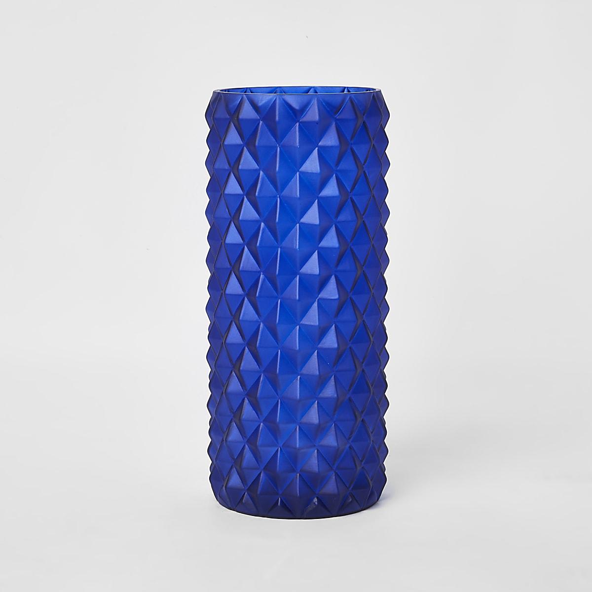 Large blue textured vase