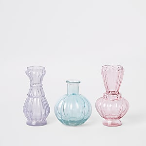 Set of 3 multi-colored mini vases