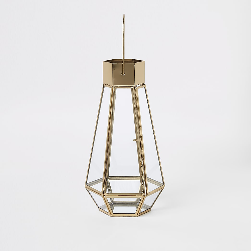 Gold tall glass lantern