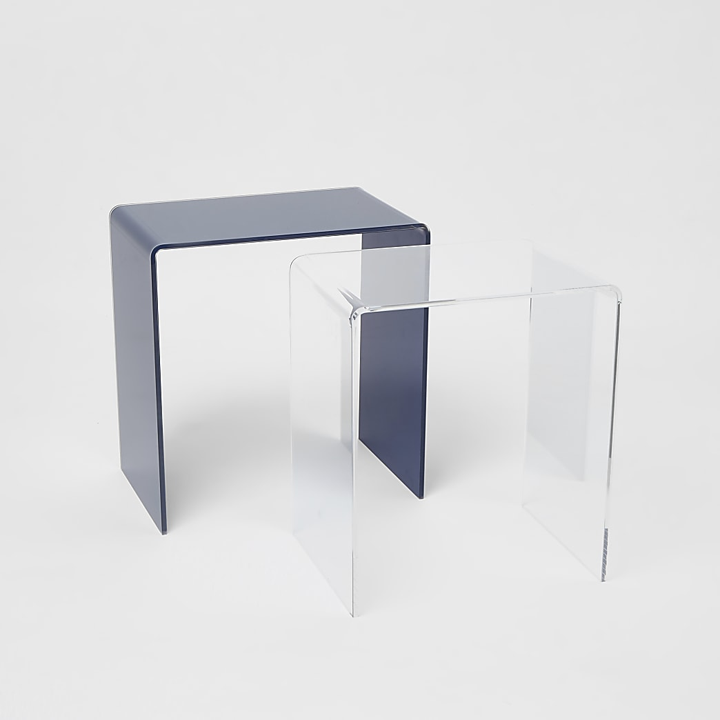 Marineblauwe en doorzichtige acryl tafelset