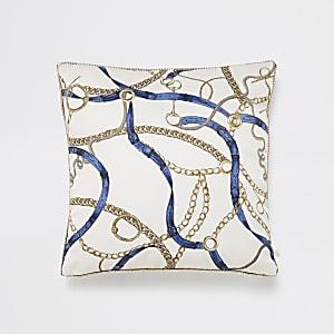 Cream chain and belt print cushion