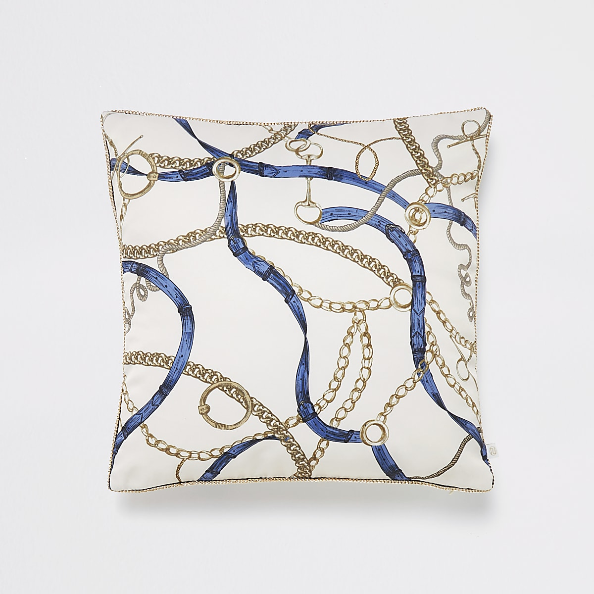 Cream chain and belt print cushion