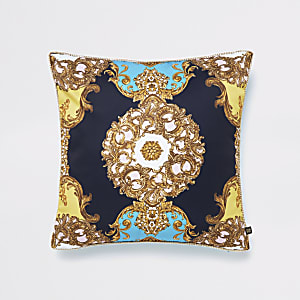 Turquoise ornate print cushion