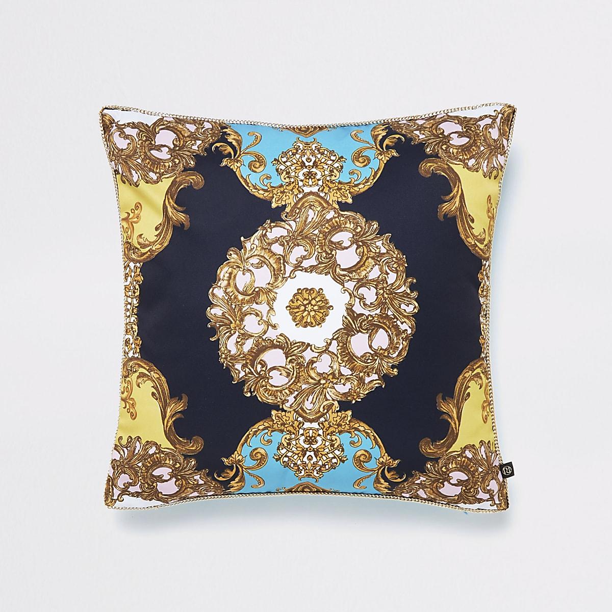 Turquoise ornate print cushion