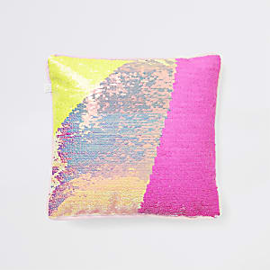 Yellow and pink sequin cuddle cushion
