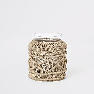 small dark cream macrame vase