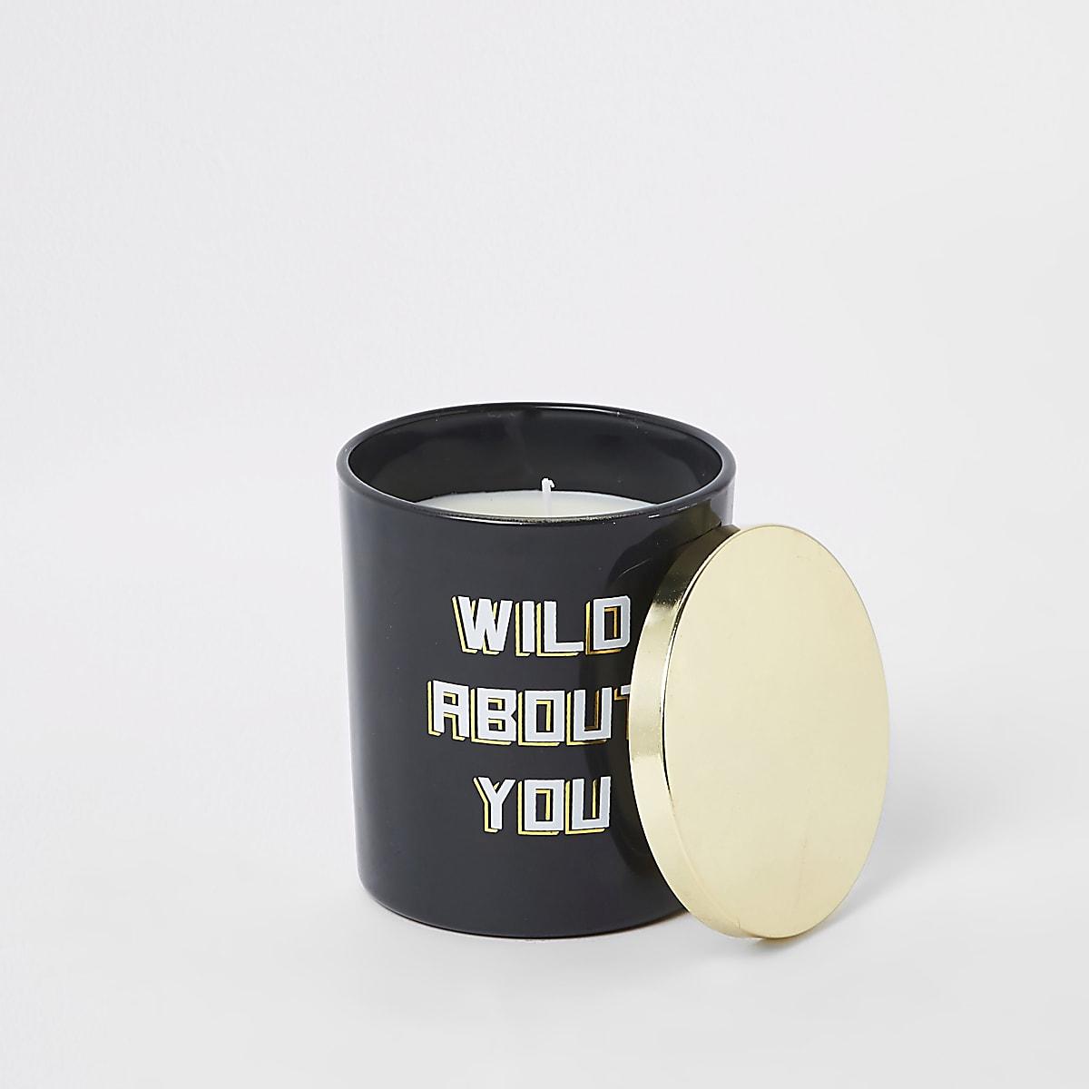 Zwarte vanille kaars met wild about you-print