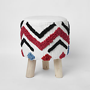 Cream geo tufted stool