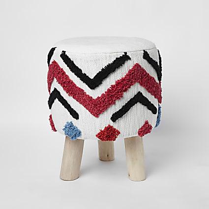 Cream geo tufted stool