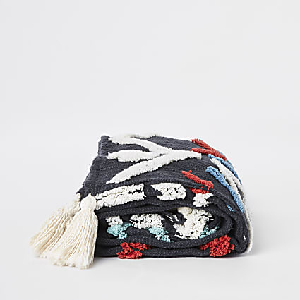 Navy textured throw
