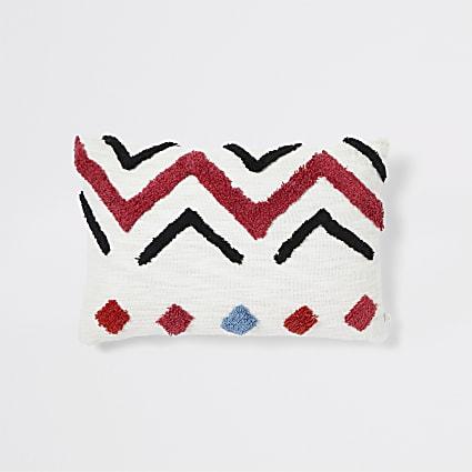 Cream geo print textured cushion