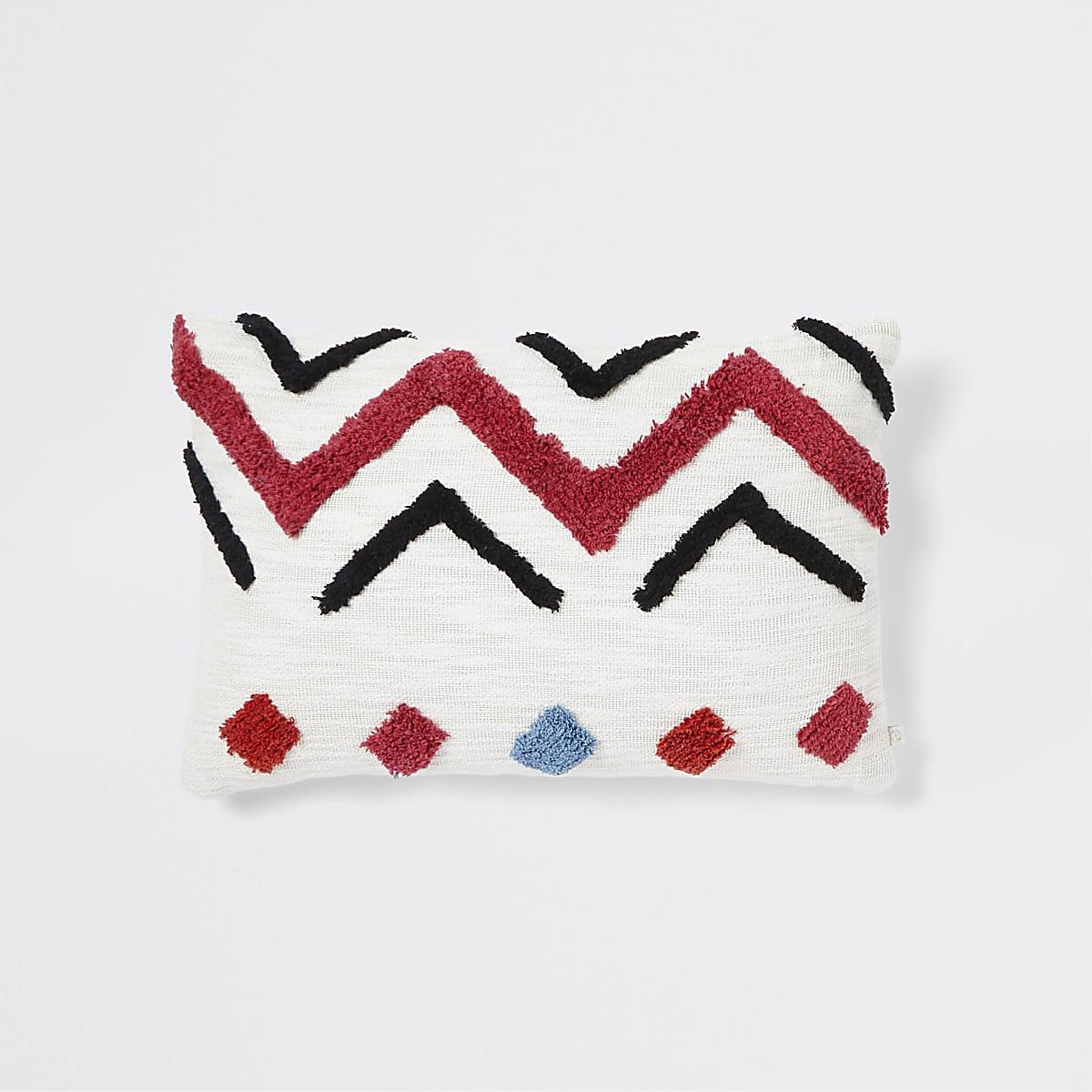 Crème kussen met geometrische print en textuur
