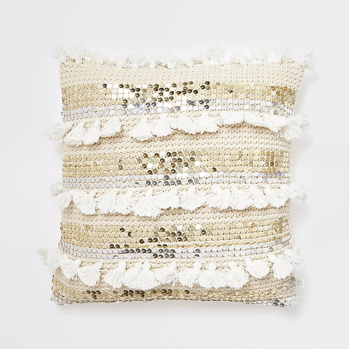 Cream knitted sequin tassel cushion