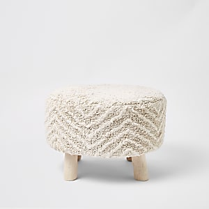 Large cream chevron tufted stool