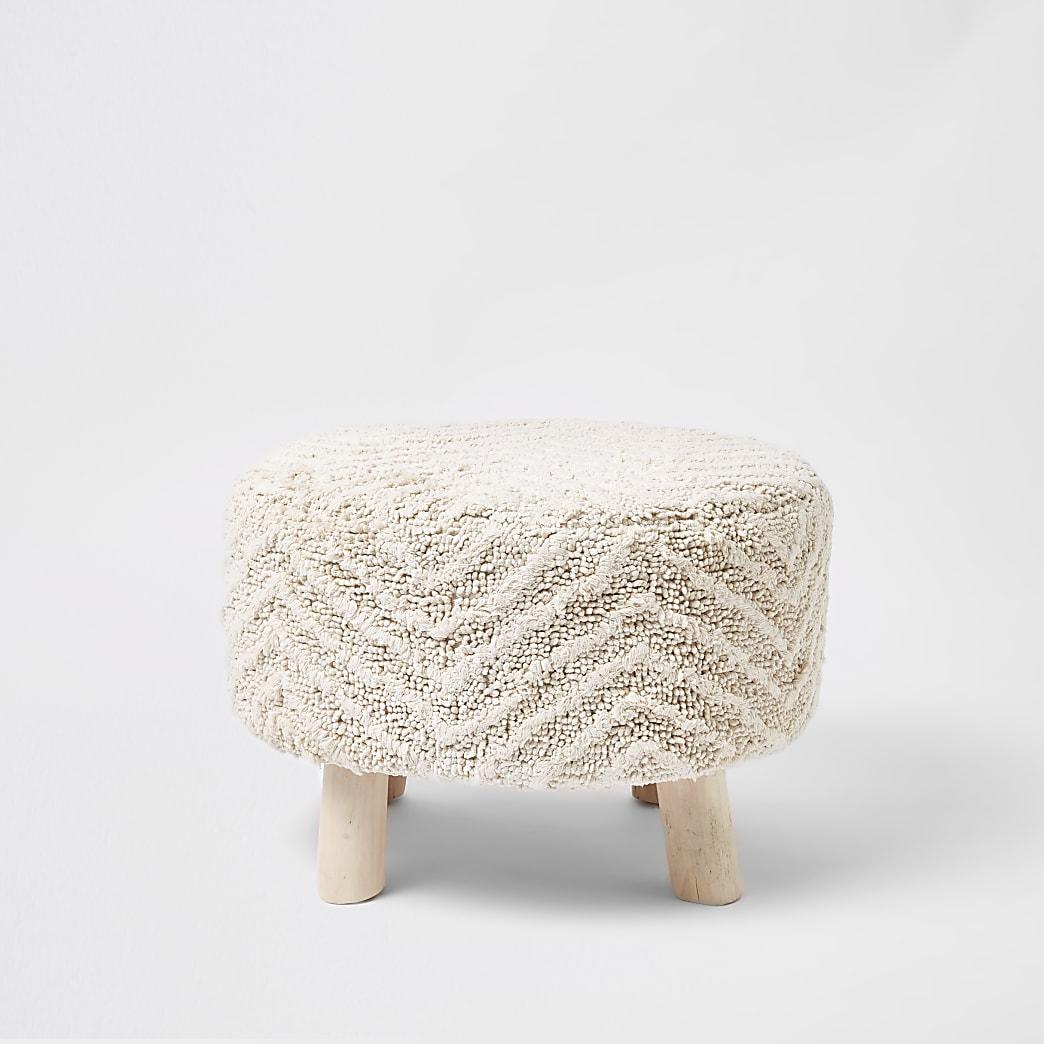 Large cream chevron tufted stool