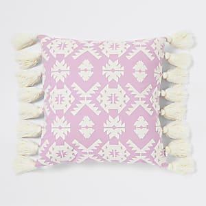 Pinkes Oversize-Kissen mit geometrischer Stickerei