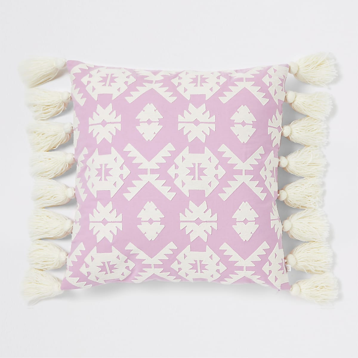 Large pink geo embroidered oversized cushion