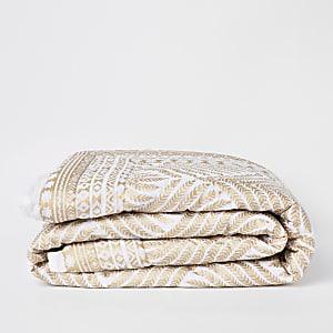Dessus-de-lit blanc et doré imprimé feuillage pour lit double