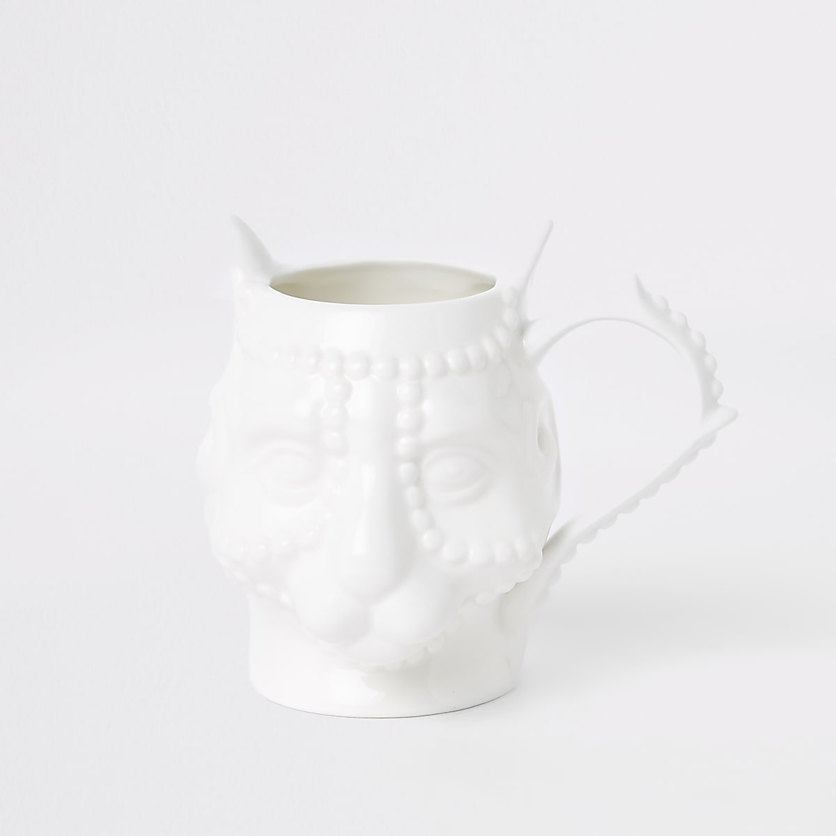 White panther face ceramic mug