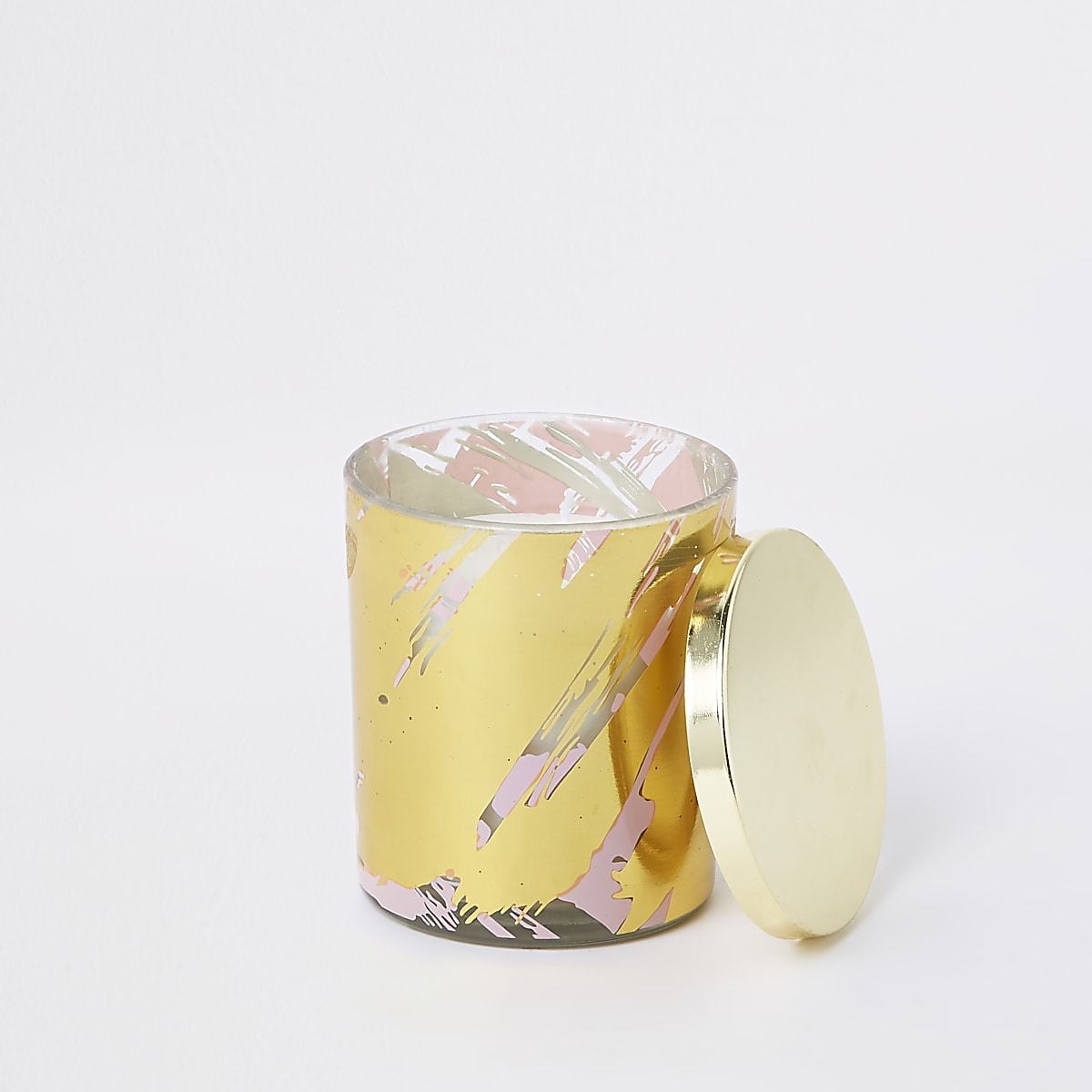 Pink metallic abstract print candle