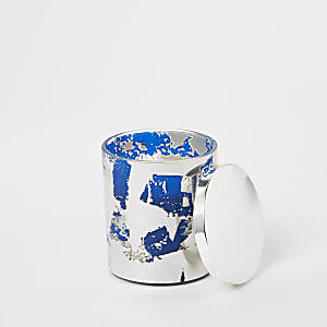 Blue vanilla metallic abstract print candle