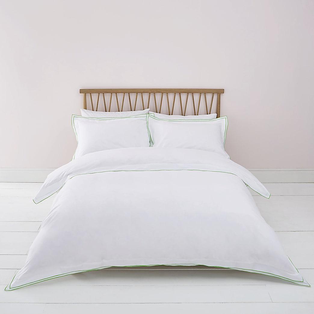 Parure de lit double blanche à bordure verte