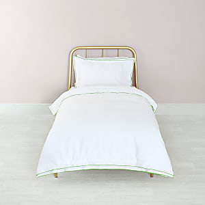 White green border single duvet bed set