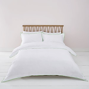 White green border superking duvet bed set
