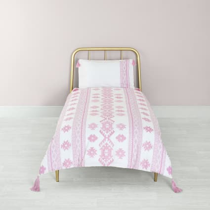 Pink Aztec embroidered single duvet bed set