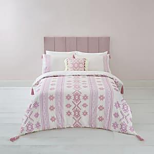 Parure de lit double à broderie aztèque rose