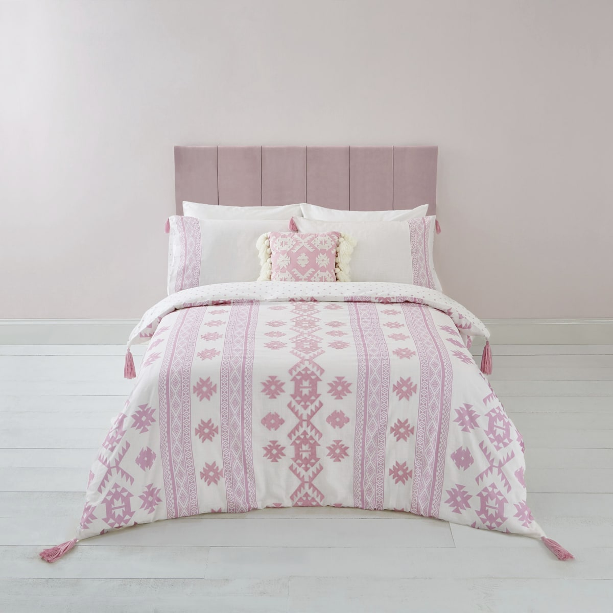 Pink Aztec embroidered king duvet bed set