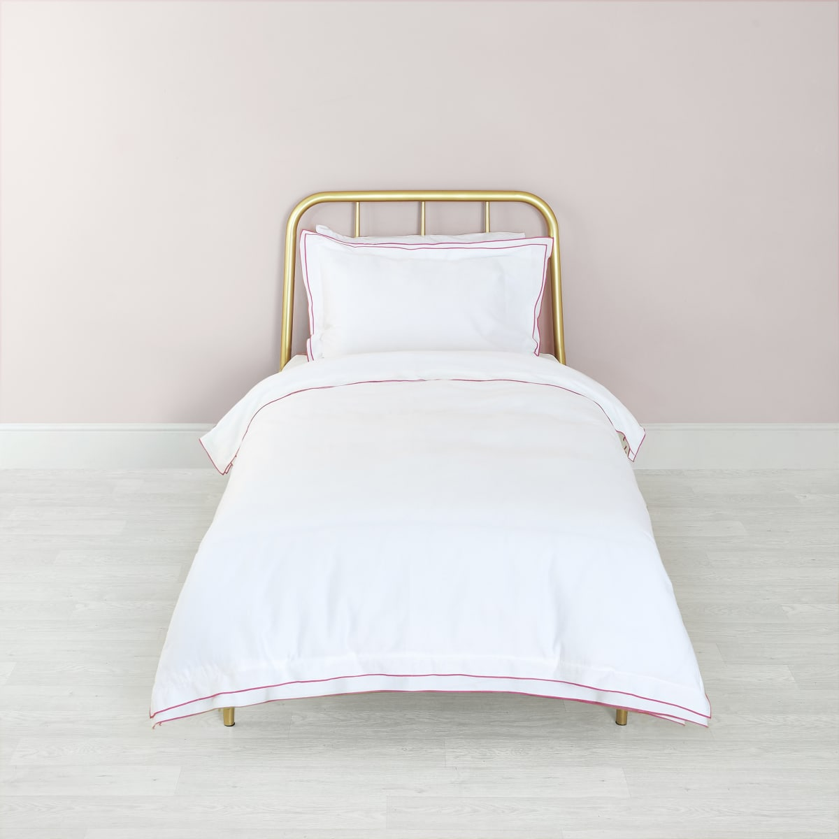 White pink border single duvet bed set