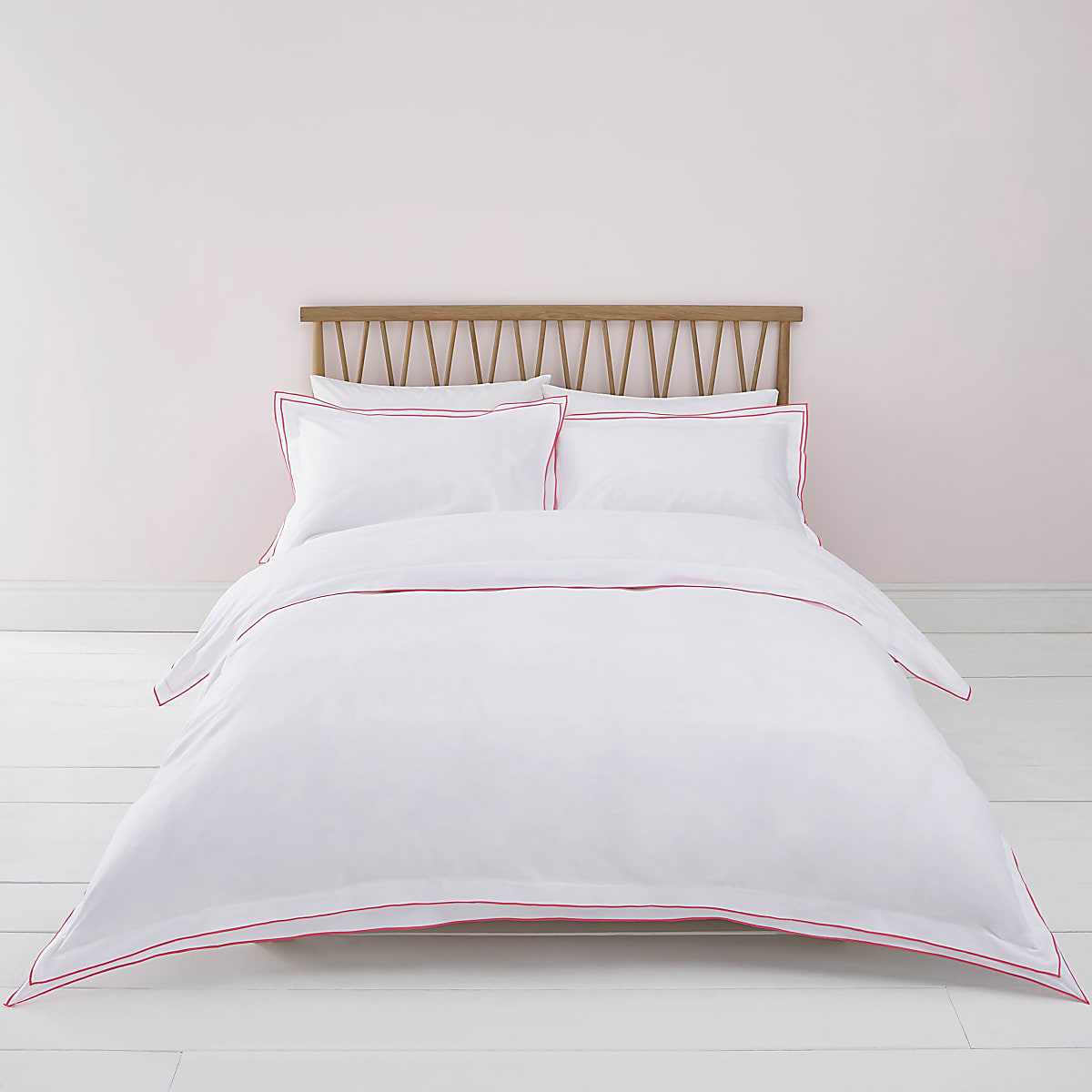 White pink border king duvet bed set