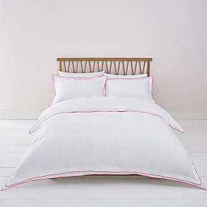 White pink border super king duvet bed set