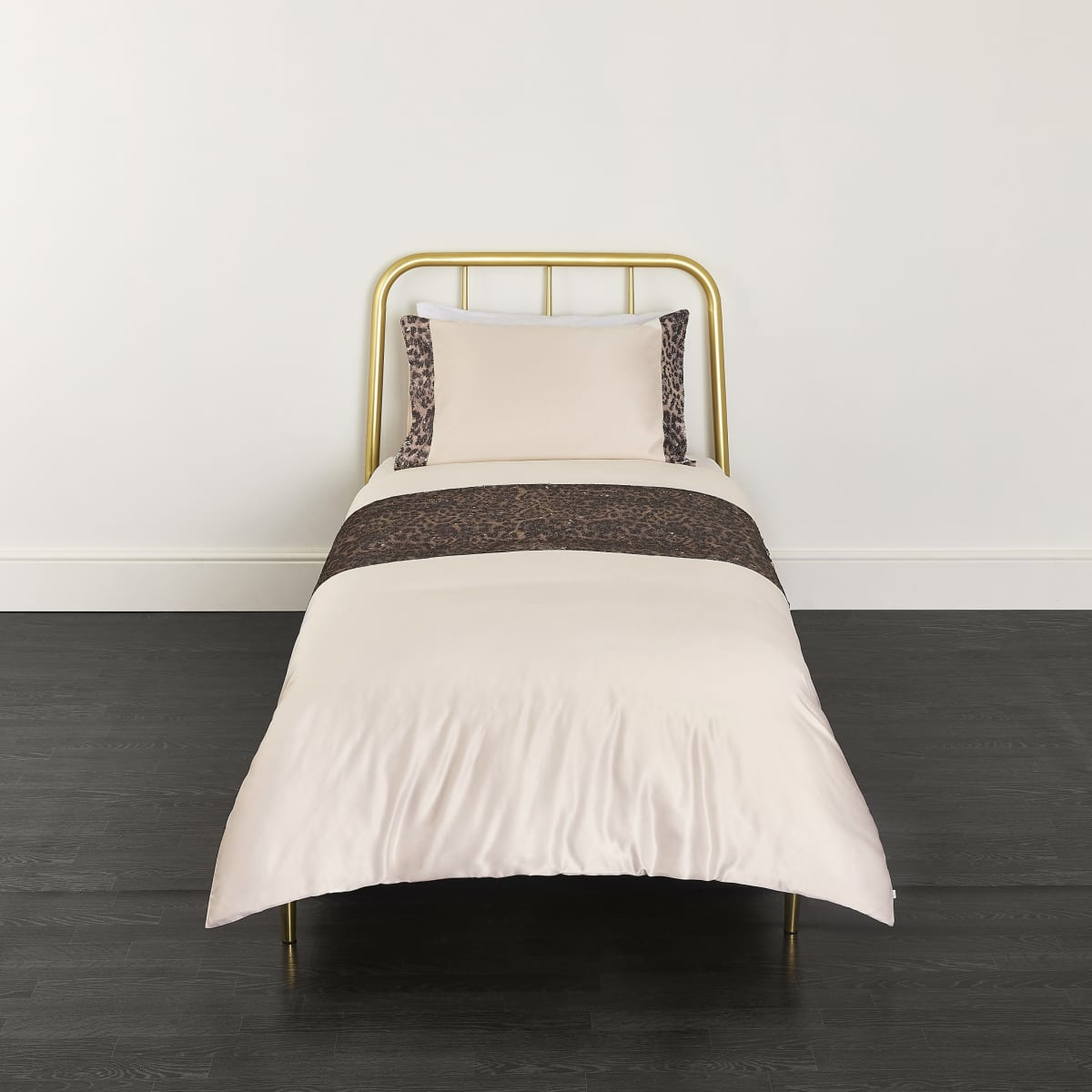 Cream leopard sequin single duvet bed set