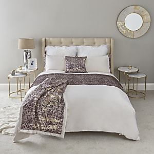 Cream leopard sequin double duvet bed set