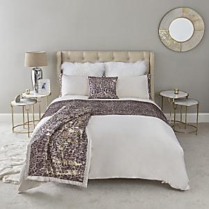 Cream leopard print sequin king duvet bed set
